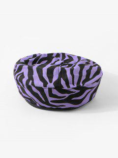 Zebra Printed Flat Beret Hat - Viola Purple