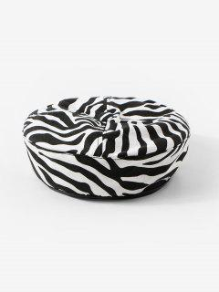 Zebra Printed Flat Beret Hat - White