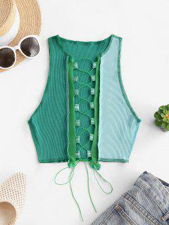 Mesh Panel Reverse Stitching Lace Up Two Tone Tank Top - Green S