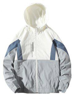 Colorblock Letter Zip Up Hooded Jacket - White Xs