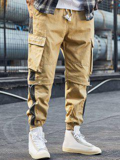 Colorblock Panel Letter Pattern Cargo Pants - Khaki Xs