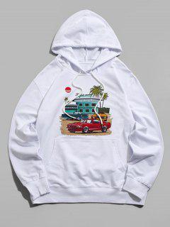 Graphic Print Kangaroo Pocket Pullover Hoodie - White S