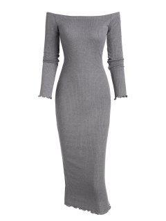 Off Acostament Bodycon Maxi Ribbed Knit Dress - Gri L