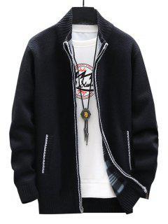 Front Pocket Zip Up Fleece Cardigan - Black Xs