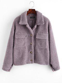 ZAFUL Button Up Flap Pockets Teddy Coat - Purple L