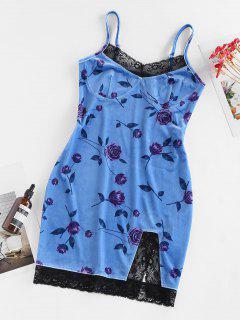 ZAFUL Flower Velvet Lace Insert Slit Mini Dress - Sky Blue S