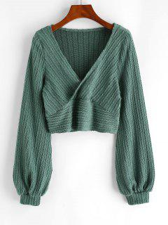 Cable Knit Surplice Cropped Knitwear - Green M