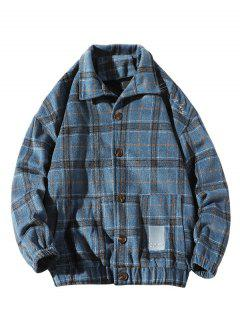 He Is A Boy Embroidery Plaid Button Up Jacket - Blue 3xl