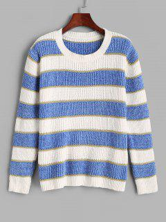 ZAFUL Stripes Glitter Threads Chenille Sweater - Light Blue M