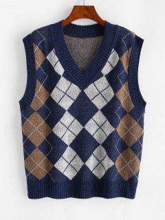 V Ausschnitt Argyle Muster Pullover Weste - Blau S