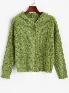 ZAFUL Zip Up Ripped Cable Knit Chenille Cardigan - Deep Green S