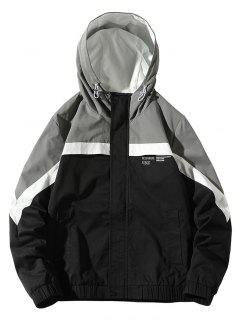 Colorblock Panel Letter Pattern Hooded Jacket - Black S