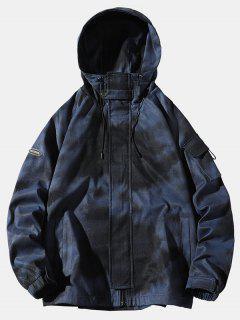 Tie Dye Print Raglan Sleeve Hooded Jacket - Blue Xl