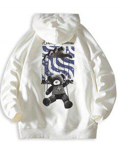 Toy Bear Letter Graphic Drop Shoulder Hoodie - White S