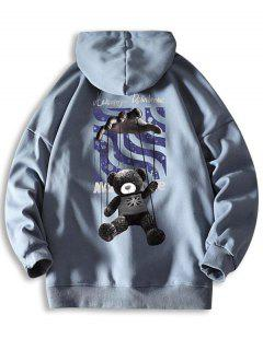 Toy Bear Letter Graphic Drop Shoulder Hoodie - Jeans Blue 2xl