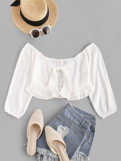 Off The Shoulder Tie Front Ruffled Crop Top - White