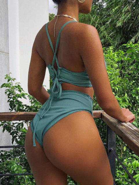 ZAFUL Kopfsalat Gerippte Tankini Badebekleidung mit Hoher Taille und Schnürung - Hellgrün M Mobile
