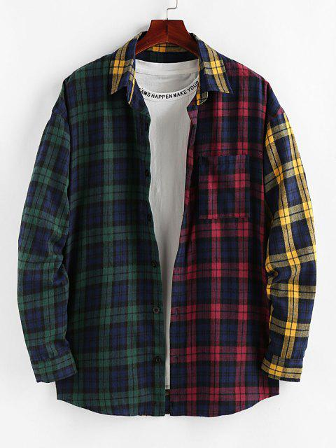 latest ZAFUL Colorblock Plaid Patchwork Pocket Shirt - MULTI S Mobile