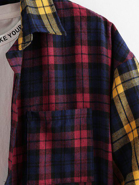 chic ZAFUL Colorblock Plaid Patchwork Pocket Shirt - MULTI XL Mobile