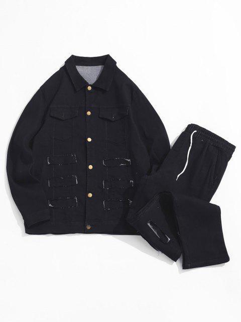 buy Frayed Patchwork Flap Pocket Jean Jacket and Denim Pants - BLACK XS Mobile