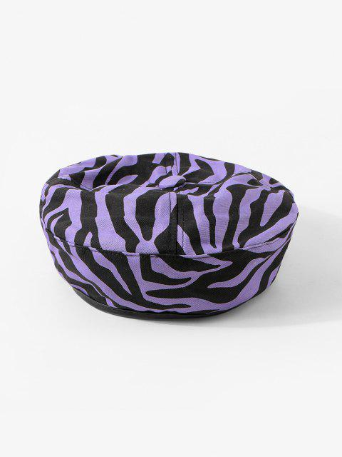 women Zebra Printed Flat Beret Hat - VIOLA PURPLE  Mobile