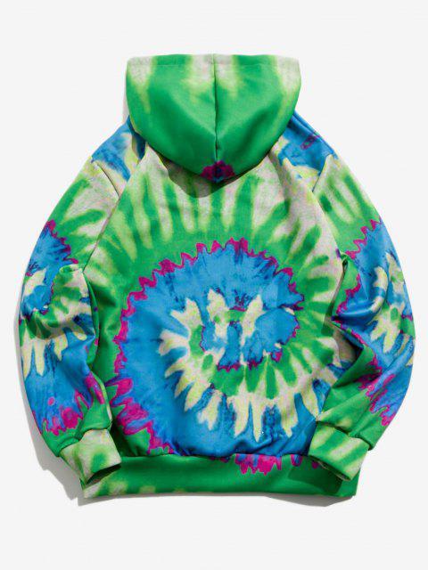 hot Tie Dye ET Cat Print Hoodie - CLOVER GREEN 3XL Mobile