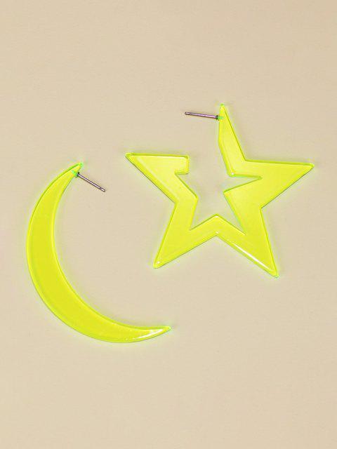 outfits Moon Star Shape Neon Asymmetric Earrings - YELLOW  Mobile