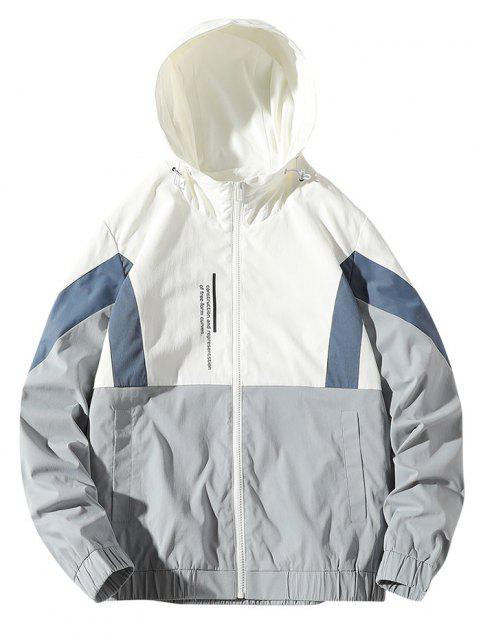 chic Colorblock Letter Zip Up Hooded Jacket - WHITE XS Mobile