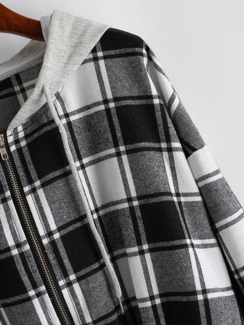 buy Plaid Hooded Zip Drop Shoulder Jacket - BLACK XL Mobile