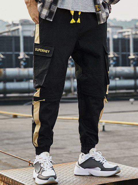 Pantalones de Carga con Estampado de Letras con Bloqueo de Color en Panel - Negro L Mobile