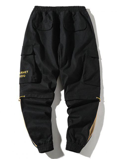 Pantalones de Carga con Estampado de Letras con Bloqueo de Color en Panel - Negro M Mobile