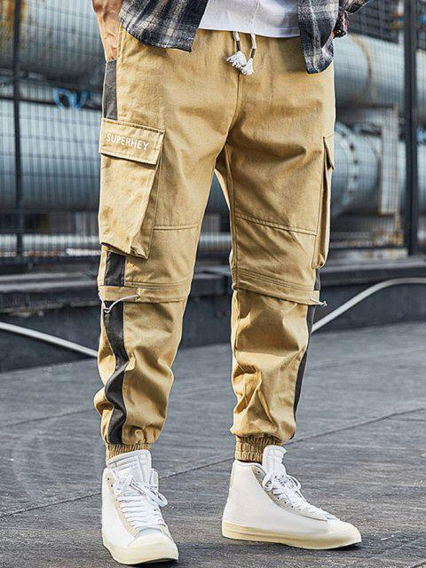 Pantalones de Carga con Estampado de Letras con Bloqueo de Color en Panel - Caqui L Mobile