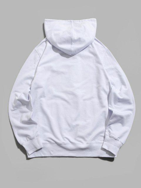 buy Graphic Print Kangaroo Pocket Pullover Hoodie - WHITE XS Mobile