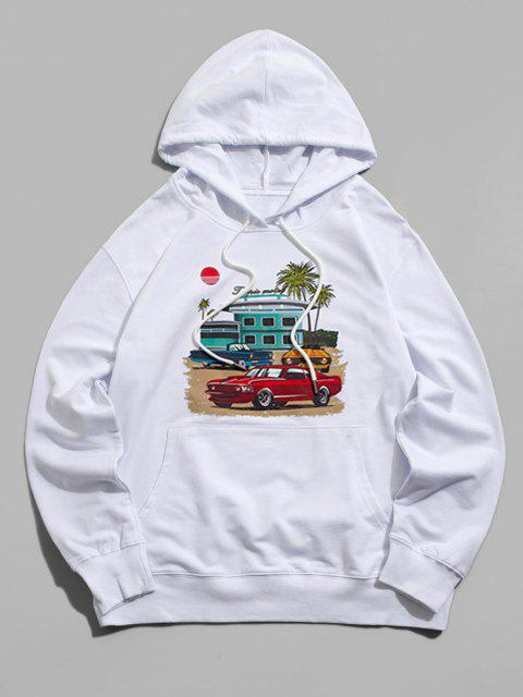 shops Graphic Print Kangaroo Pocket Pullover Hoodie - WHITE 2XL Mobile
