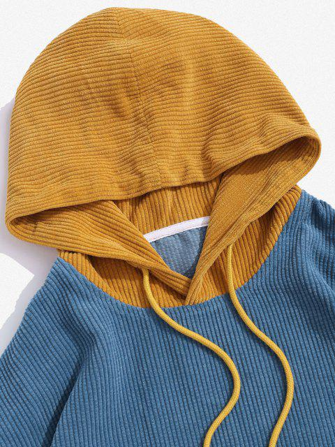 hot Two Tone Corduroy Hoodie - BLUE S Mobile