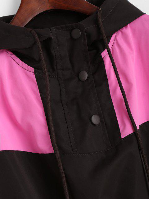 buy Snap Button Colorblock Windbreaker Jacket - COFFEE M Mobile