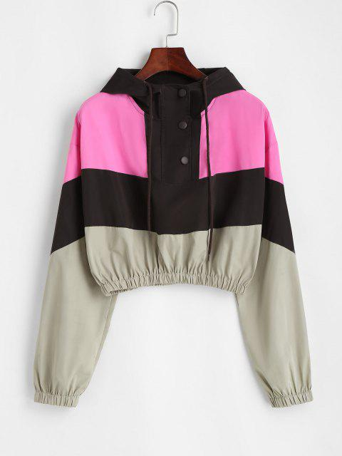Snap Button Colorblock Windbreaker Jacket - قهوة M Mobile