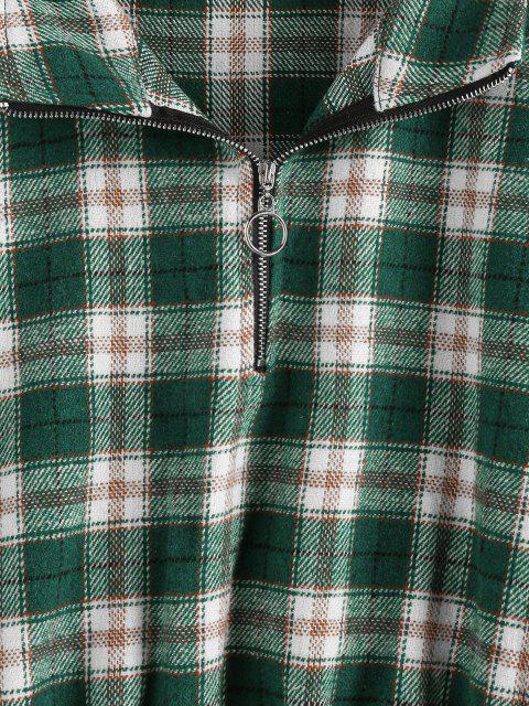 ZAFUL Sudadera Recortada de Tela Escocesa a Cuadros - Verde Oscuro XL Mobile