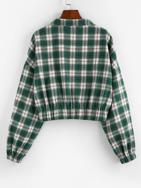 ZAFUL Sweat-shirt Court à Carreaux à Demi-Zip - Vert profond S Mobile
