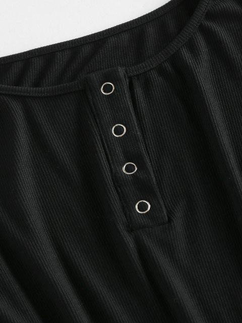 fashion ZAFUL Ribbed Snap Button Bodycon Dress - BLACK M Mobile