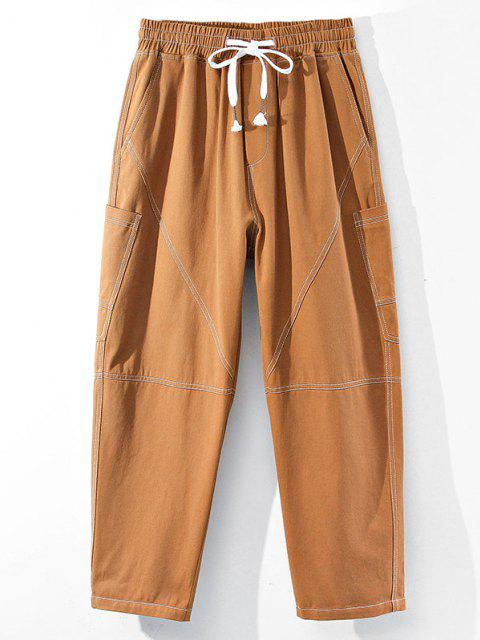 online Contrast Stitching Side Pocket Pants - LIGHT BROWN XS Mobile