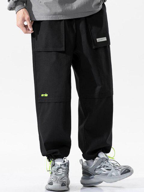 Buchstabe Druck Multi Taschen Patch Hose - Schwarz XS Mobile