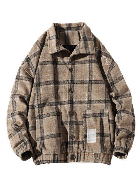 しかし、であるAの刺繍チェック柄のボタン付きジャケット - カーキ L Mobile