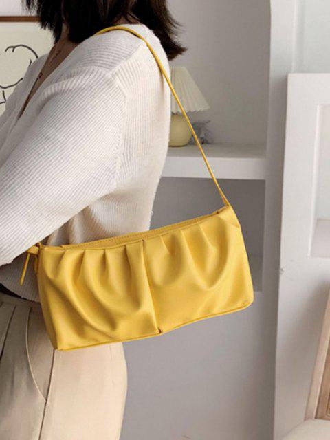 new Solid Rectangle Pleated Shoulder Bag - YELLOW  Mobile