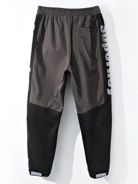 Pantalones de Estampado de Letras con Bloqueo de Color en Panel - Gris XS Mobile
