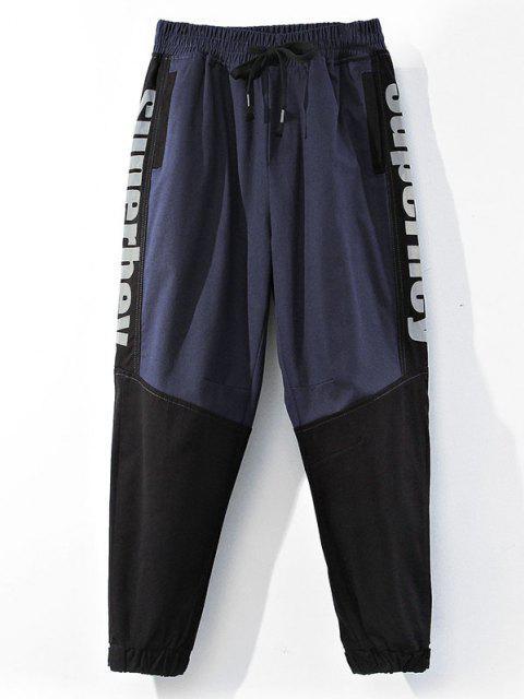 latest Colorblock Panel Letter Pattern Beam Feet Pants - BLUEBERRY BLUE XS Mobile