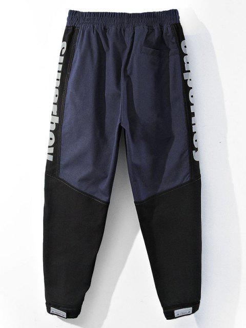 women's Colorblock Panel Letter Pattern Beam Feet Pants - BLUEBERRY BLUE M Mobile