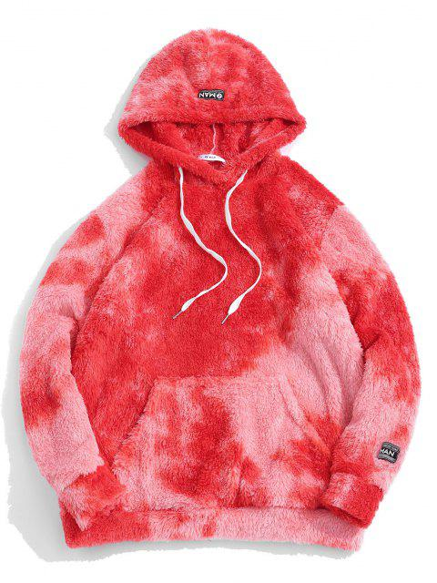 chic Tie Dye Fluffy Front Pocket Hoodie - RED XL Mobile