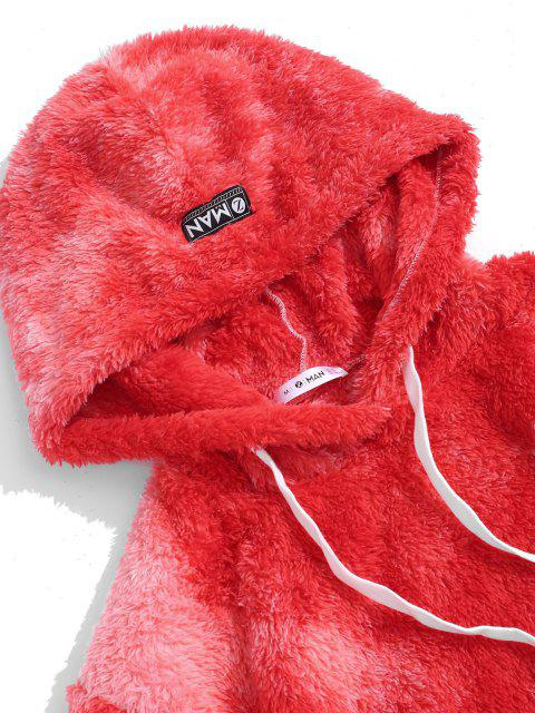 women Tie Dye Fluffy Front Pocket Hoodie - RED S Mobile
