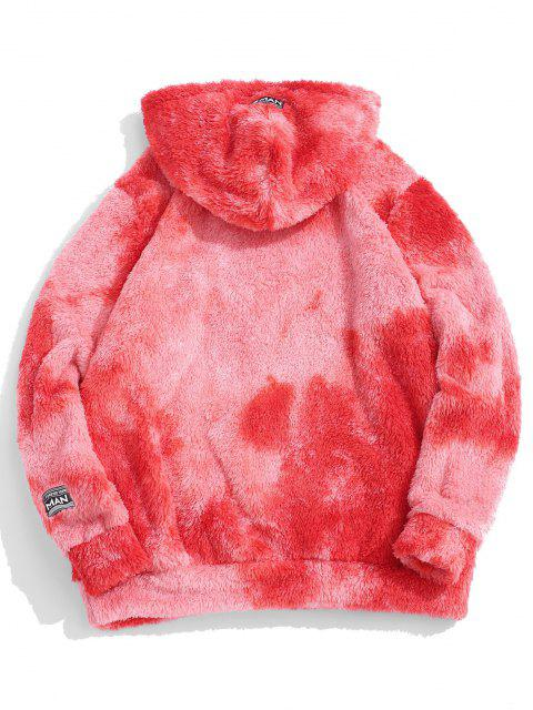 latest Tie Dye Fluffy Front Pocket Hoodie - RED M Mobile